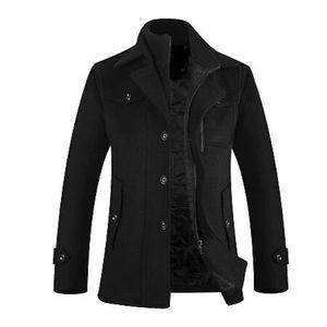 New APTRO Men's Winter Single Breasted Wool Blend Pea Coat Black Men's Size L